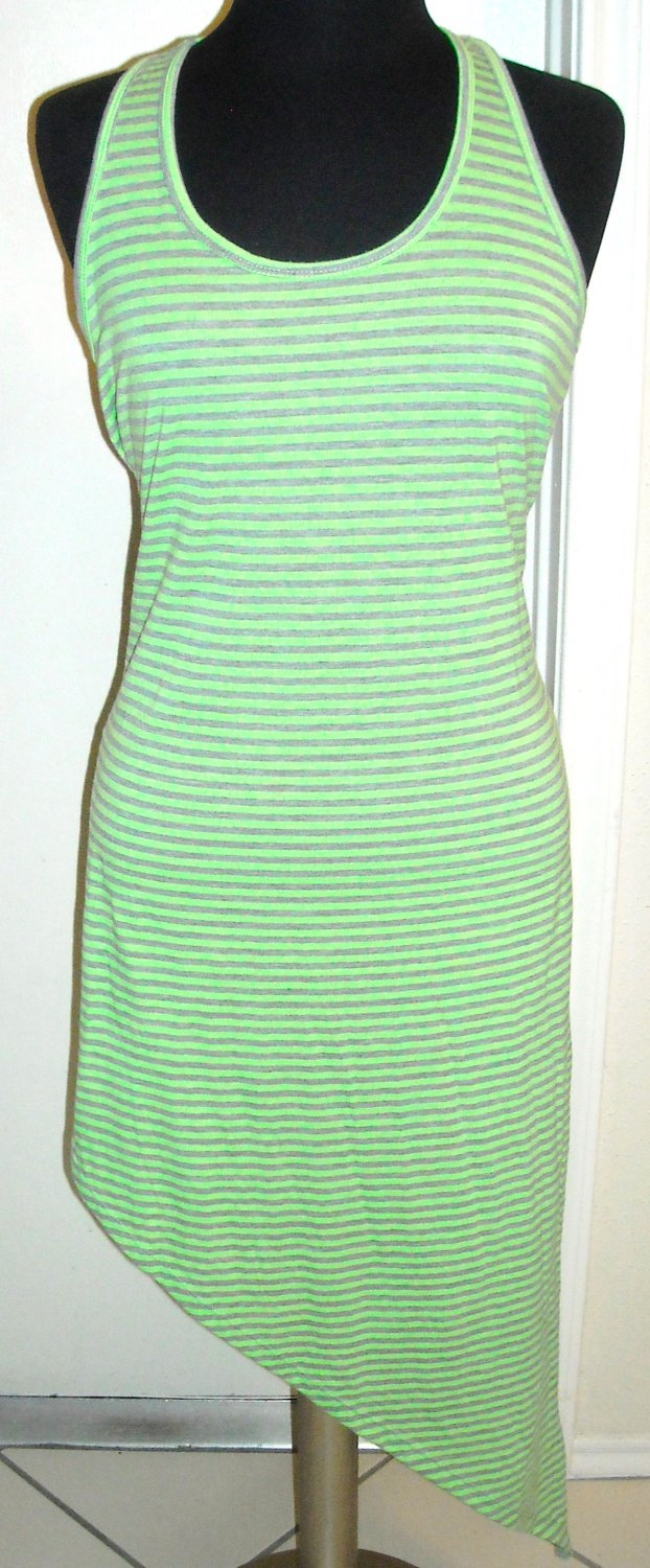 CHRISTINA LOVE GREEN AND GREY STRIPE DRESS SIZE L (NEW)