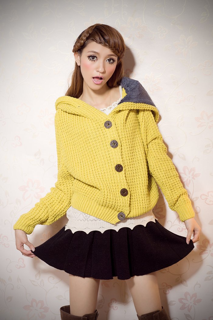 Coarse Button up Sweater with  hood#6711