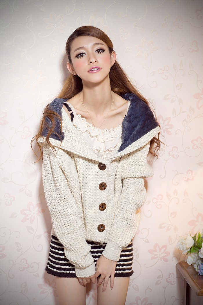Coarse Button up Sweater with  hood#6712