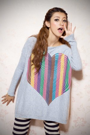 Rainbow Heart design Sweater#6107