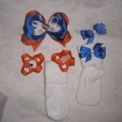 "NFL CHICAGO BEARS GIRLS 3.5"" HAIRBOW W/ VELCRO SOCKS & CHANGABLE BOWS SZ 6-18MOS"