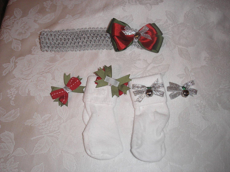 CHRISTMAS SILVER BELLS HEADBAND BOW W/MATHCING VELCRO SOCKS & BOWS SZ 6-18 M SET