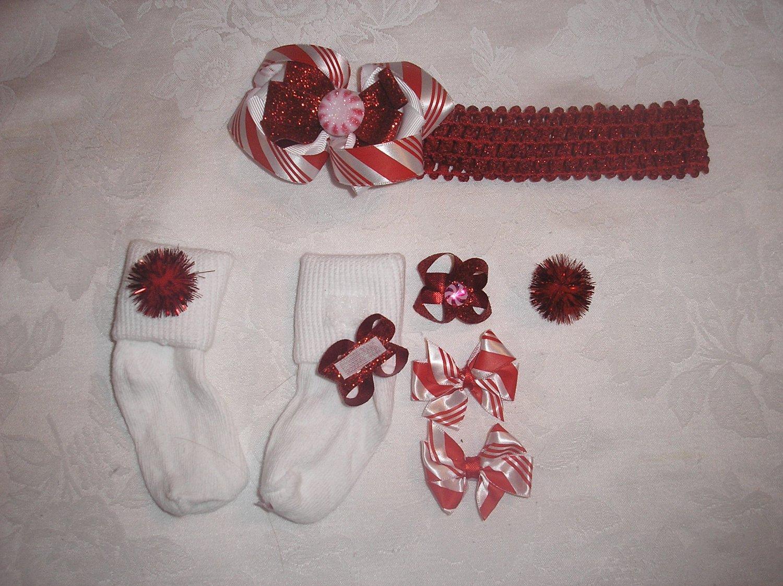 CHRISTMAS PEPPERMINT RED GLITTER HEADBAND BOW W/MATCHING SOCKS SZ 6-18 MOS SET!