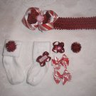 CHRISTMAS PEPPERMINT RED GLITTER HEADBAND BOW W/MATCHING SOCKS SZ 6-18 MOS SET!