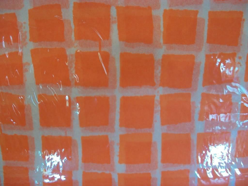 25 Sheets Orange Mini Checks Tissue Paper ~  NIP