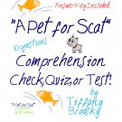 A Pet for Scat Comprehension Quiz, Test, or Check; a PDF Printable