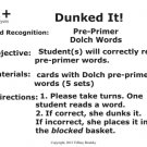 Dunked It! Pre-Primer Dolch Words Reading Fluency & Vocabulary Centers in PDF