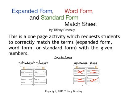 Expanded Form, Word Form, and Standard Form Match Math Sheet with Answer Key PDF