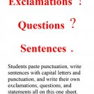 Grammar: Exclamations, Questions, & Statements with Capital Letters & Punctuation Bell Ringer PDF