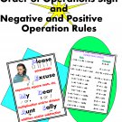 Please Excuse My Dear Aunt Sally Order of Operations Sign and Positive & Negative Numbers Rules