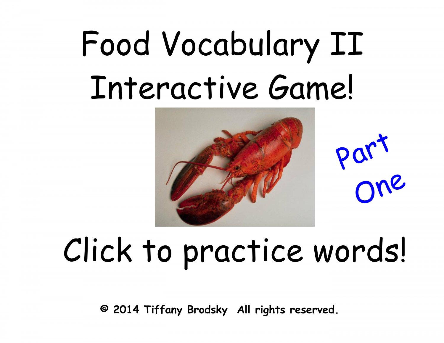 Food Vocabulary II Interactive Game, Part One is Superb for