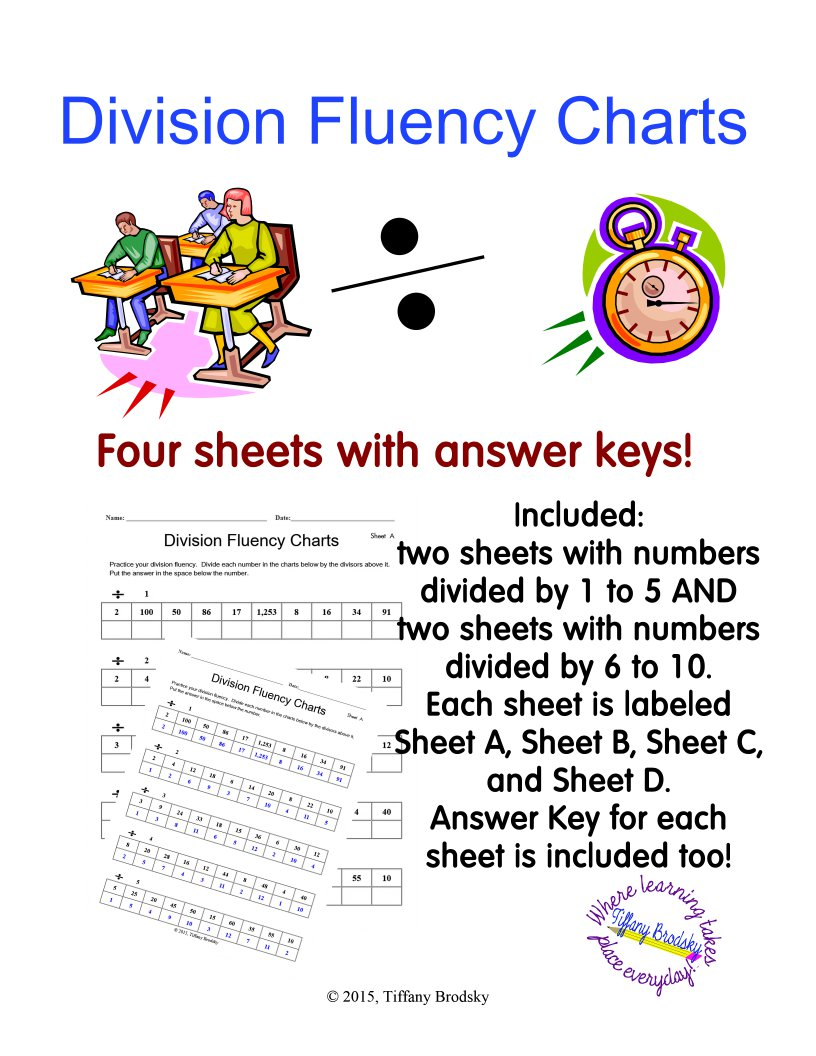 Division Fluency Charts: Four Sheets with Answer Keys in PDF (Adobe) Format