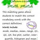 Shamrock Math Match: Vocabulary Game for Mode, Median, Box Plot, Histogram, etc.  PDF