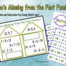 Who's Missing From the Fact Families? Addition and Subtraction Game PDF