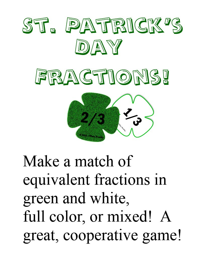 St. Patrick's Day Equivalent Fractions (Ratios) Cooperative Match Game in PDF