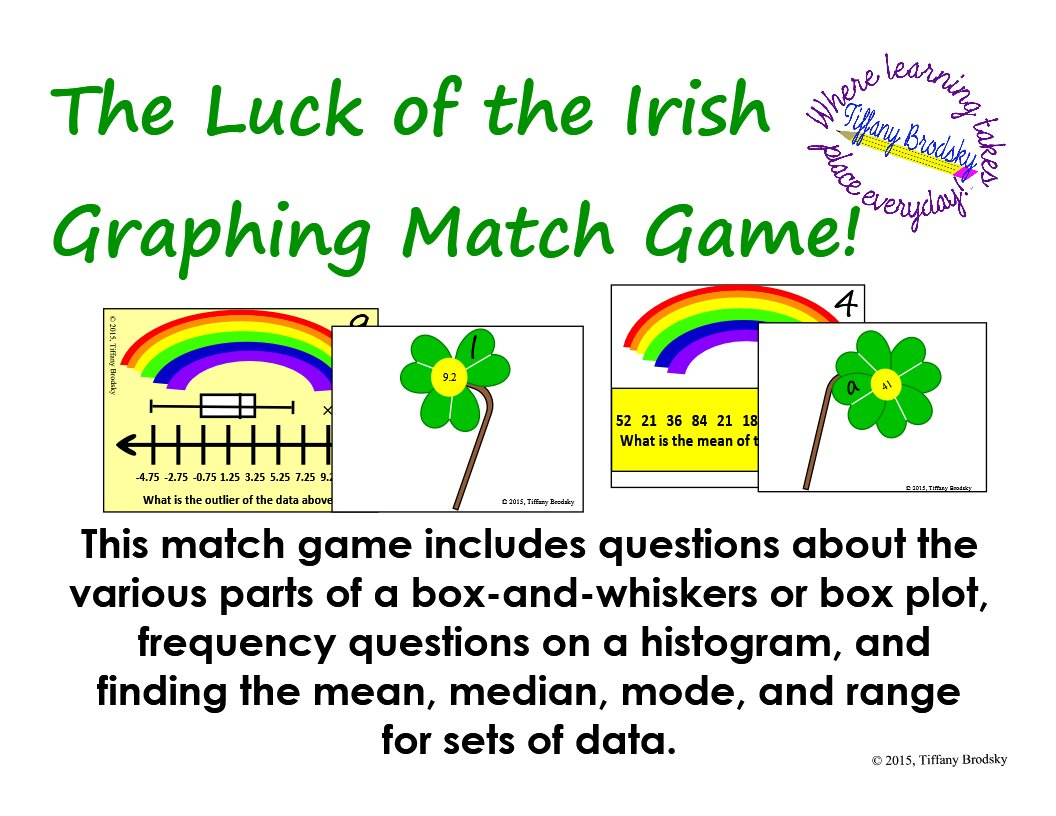 St. Patricks Day Luck of the Irish Graphing Match Game: mean, box plot, etc.