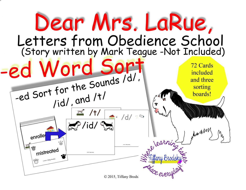 Dear Mrs. LaRue, Letters from Obedience School suffix -ed word sort PDF