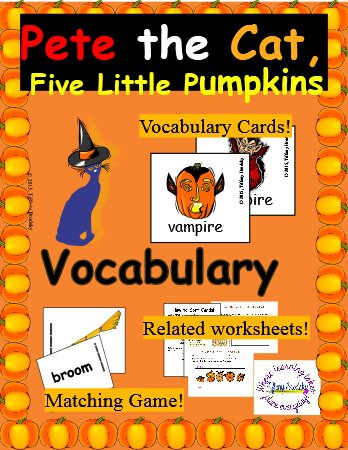Pete the Cat Five Little Pumpkins Halloween Story Vocabulary Set in PDF