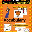 Pete the Cat Five Little Pumpkins Halloween Story Vocabulary Set in PDF