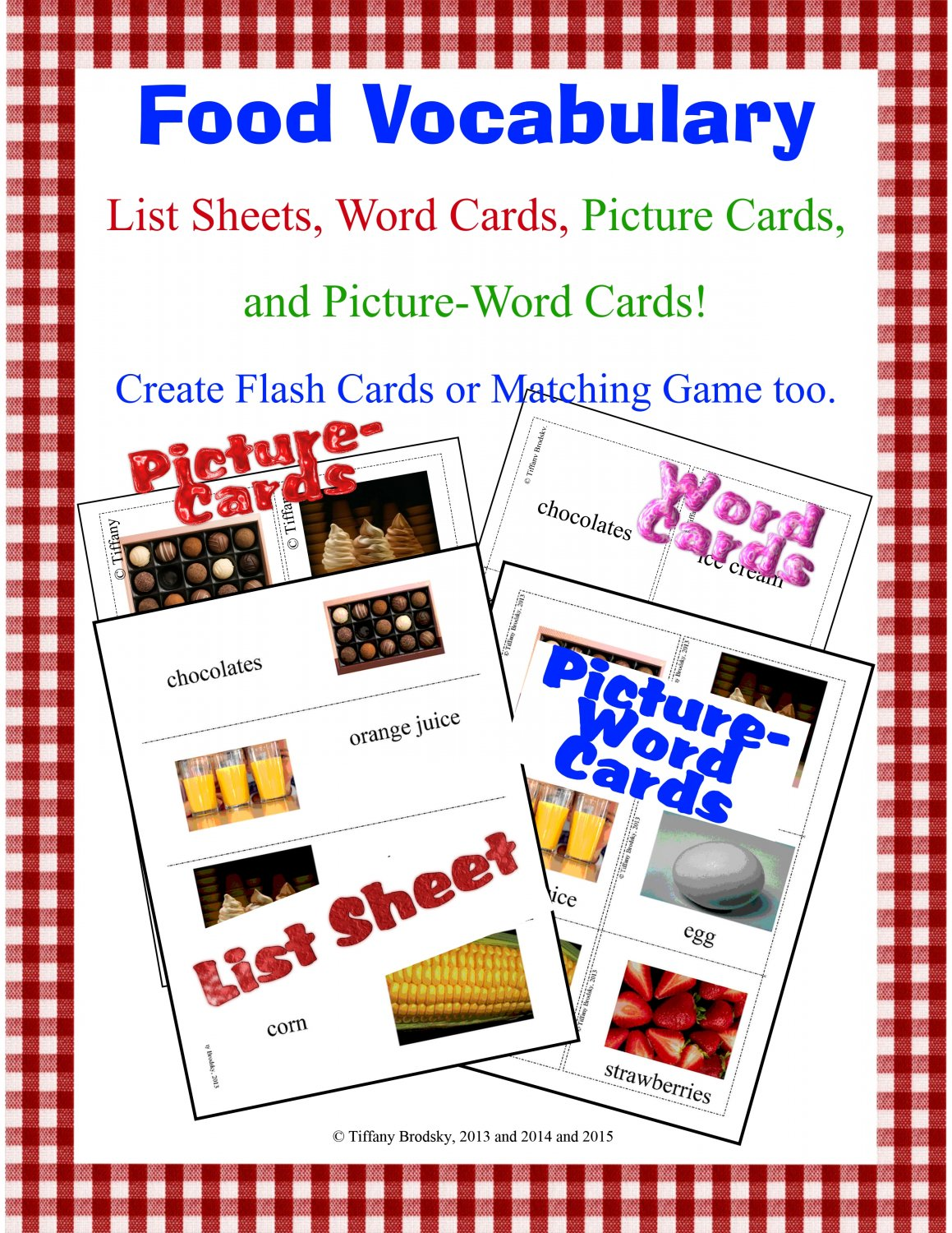 Food Vocabulary Word Cards; Great for ESL or ESOL students! PDF