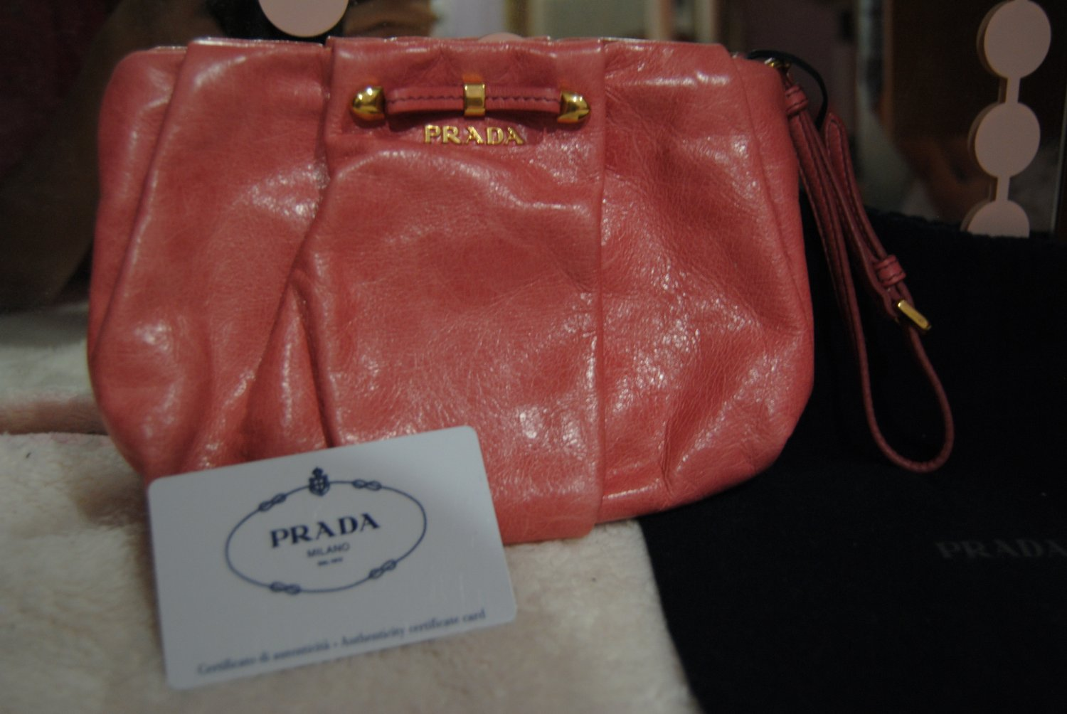 Prada Pink leather clutch