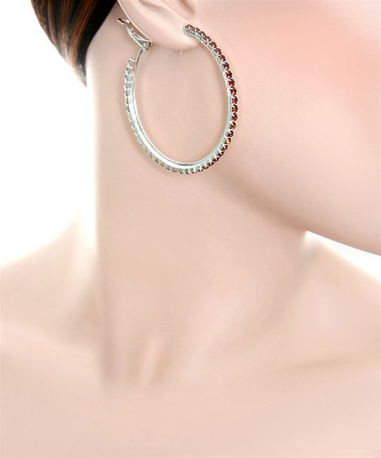 Topaz Rhinestone Hoop Earrings