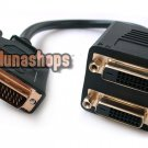 DVI Male 24+1 to 2 Female Splitter Connector Adapter Cable