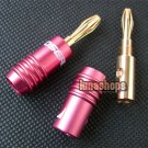 2 pcs 24K Gold Plated Banana Male Plug Adapter Red Choseal