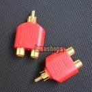 For 2pcs RCA Male To 2 Female Stereo Audio Adapter Connector