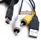 Mini USB Male To 2 RCA AV + USB Male Cable For digital camera