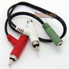 3.5mm Stereo Port To RCA AV Male + Female Splitter OFC Coppper Cable Adapter