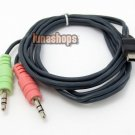 C0 Dual 2 3.5mm Male to USB Mini 5 Pin Tranfer Data Cable Adapter For Car Audio
