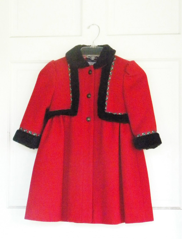 Vintage Coat - Rothschild - Toddler Girl Size 4 - Christmas Red