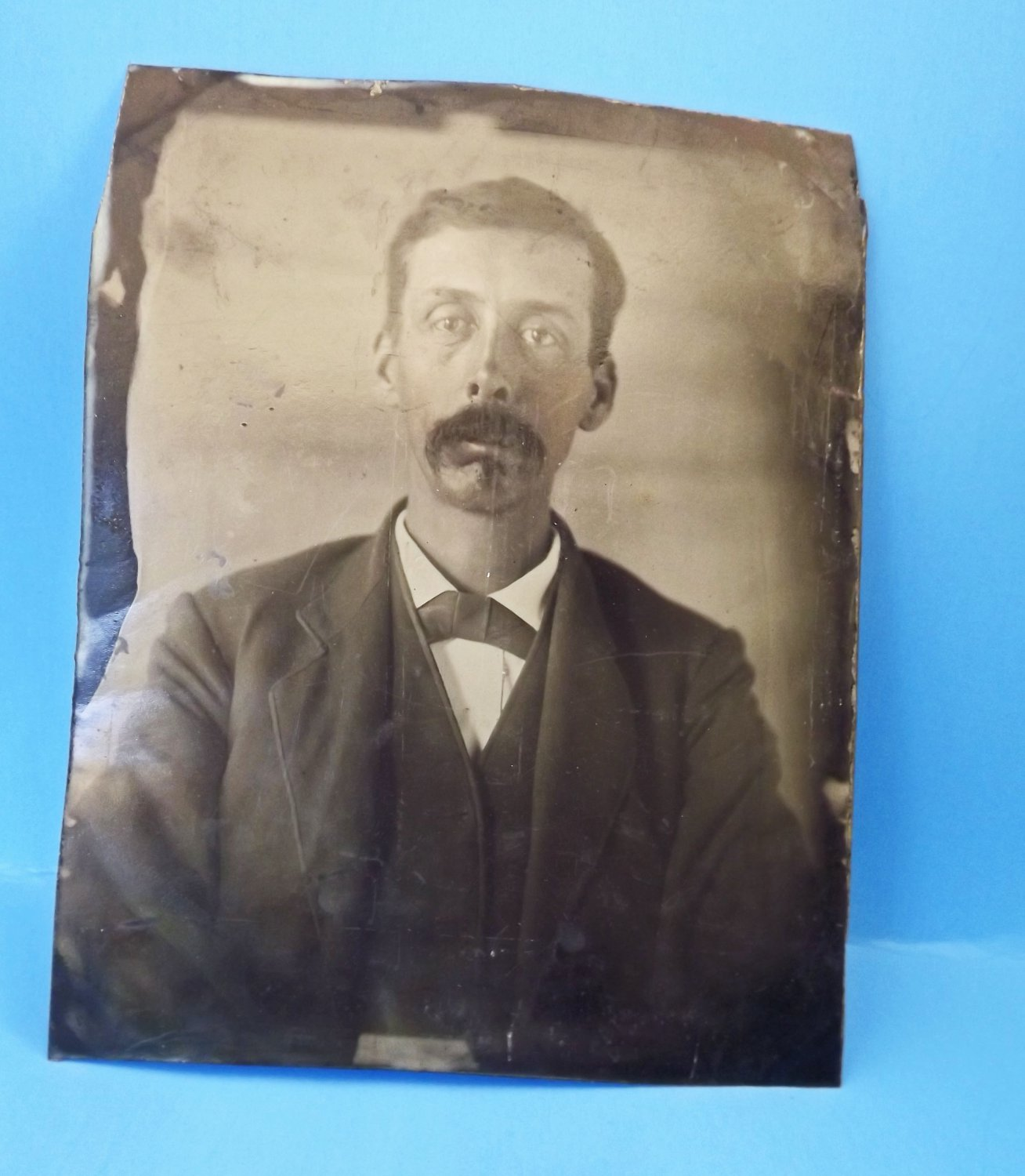Antique Tin Type Photograph - Photo - Picture - Man Gentleman - 1800s - Large Size