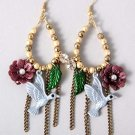 Beautiful Bird in Flower Earrings