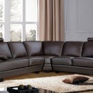 Baron Leather Sectional Sofa with Headrests