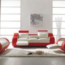 Contemporary White and Red Leather Sofa Set