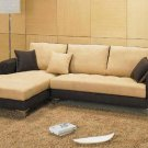 Dual-Toned Microfiber Sectional Sofa