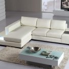 Mini Modern White Leather Sectional Sofa