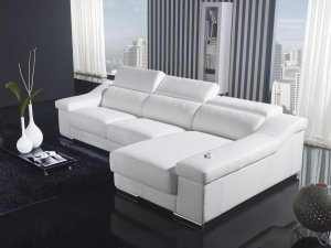Modern White Leather Sectional Sofa Set