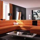 Polaris Contemporary Leather Sectional Sofa in Orange