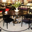 Round Black Crocodile Lacquer Table w Lazy Susan