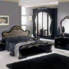 Judy - Italian Classic Black Bedroom Set (Gold Fabric Headboard)