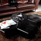 Hexagon Shaped Black Crocodile Lacquer Coffee Table
