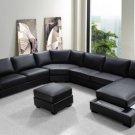 Ritz - Modern Black Bonded Leather Sectional Sofa Set