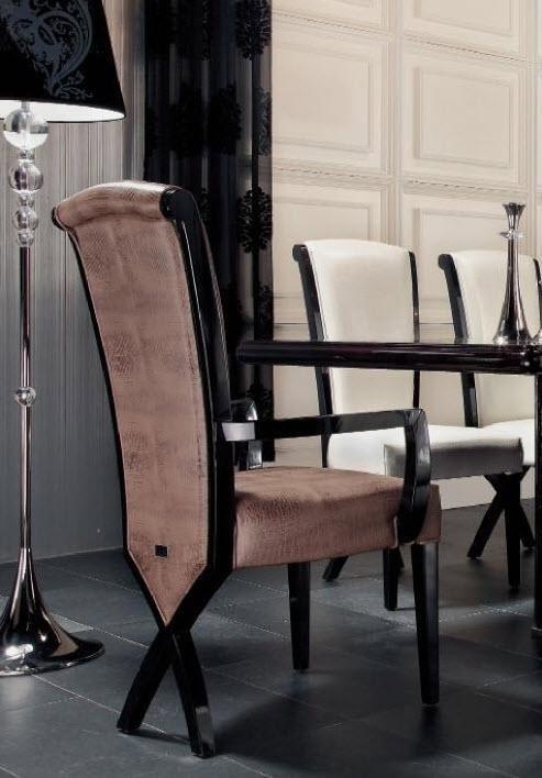 Transitional X Leg Crocodile Leather Dining Arm Chair
