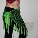 HAND MADE GREEN BELLY DANCE HIP MESH SCARVES