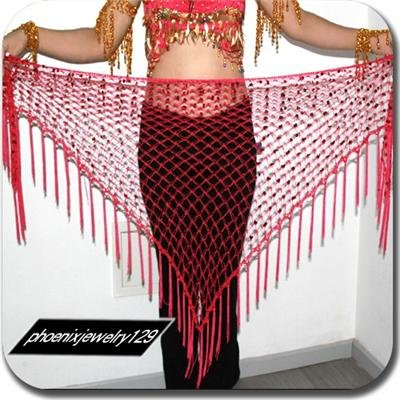 HAND MADE DARK PINK BELLY DANCE HIP MESH SCARVES