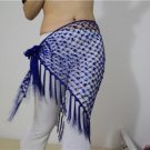 HAND MADE BLUE BELLY DANCE HIP MESH SCARVES