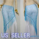 HAND MADE LIGHT BLUE BELLY DANCE HIP MESH SCARVES